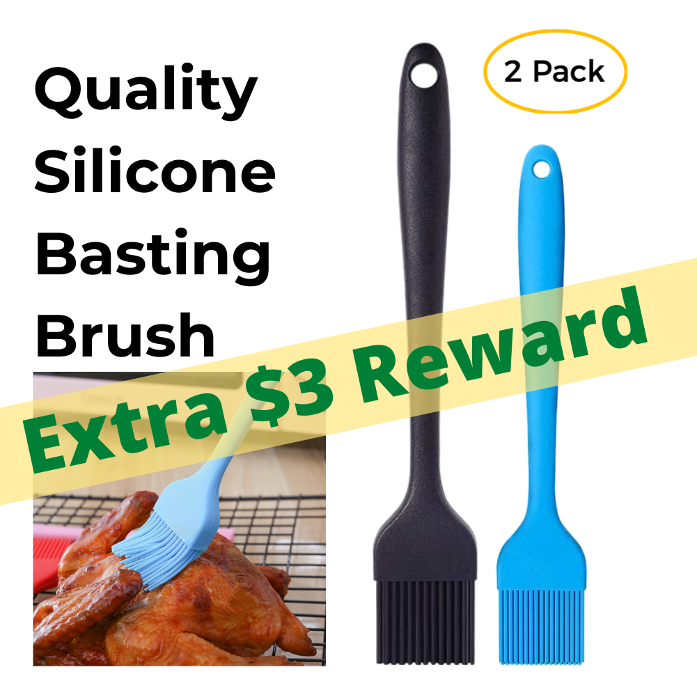 Extra $3 Reward! Silicone Basting Brush 2 Pack, 2 Heat Resistant Long Handle Pastry Brush for Grilling, Baking, BBQ and Cooking, Solid Core and Hygienic Solid Coating-Black and Blue