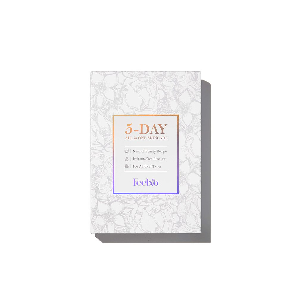Facial Mask Sheets [FEELXO] 5DAY ALL in ONE Skincare Program, 5 Sheets Per Set, Moisturizing, Vital-up, Anti-aging with Highly Concentrated Serum