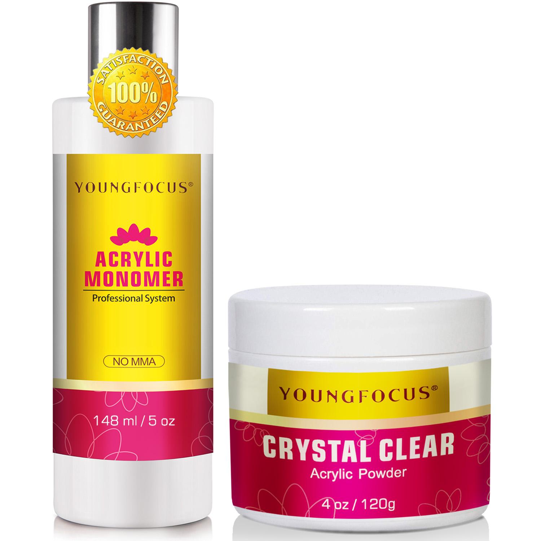 Youngfocus Professional Polymer Kit Acrylic Powder Crystal Clear 4 oz & Liquid monomer Acrylic Liquid Monomer 5 oz for Doing Acrylic Nails, MMA free, Ultra Shine and Strong Nails Acrylic Nail Kit