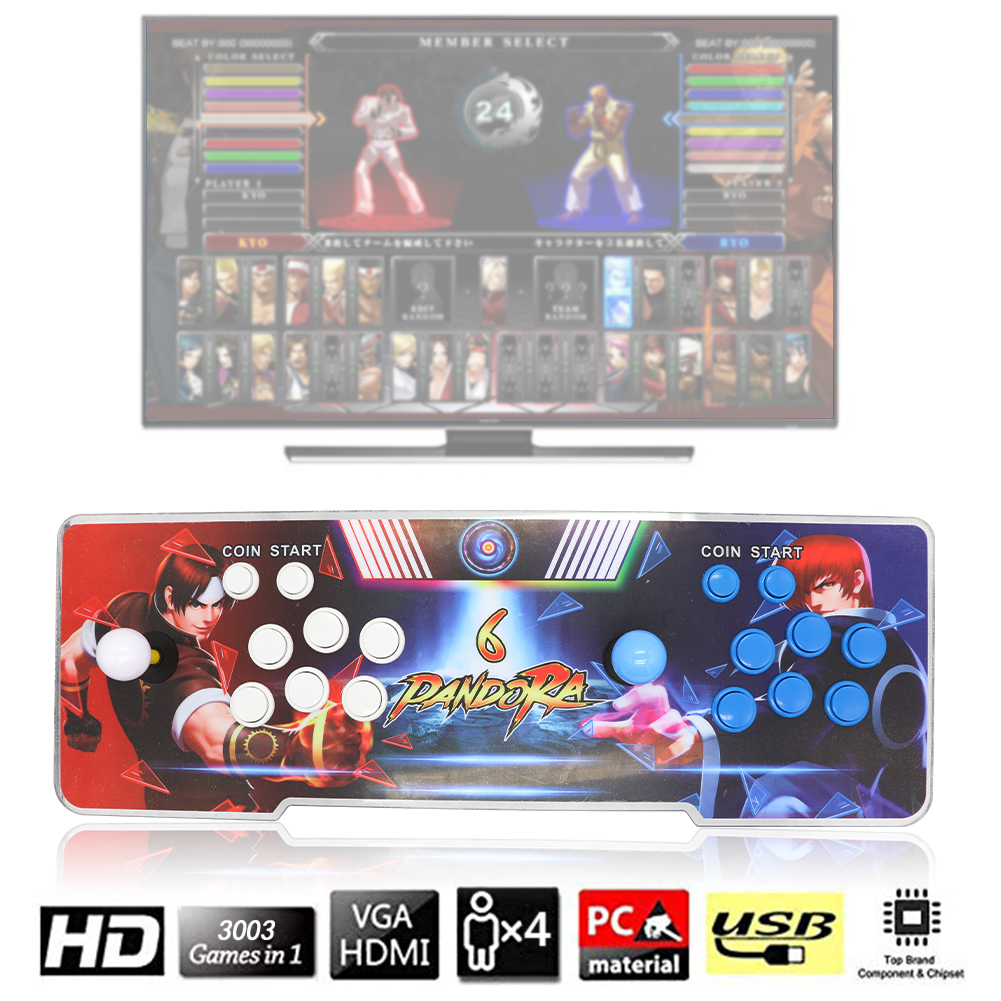 MERLINAE 3003 Games Arcade Machine,Family Game Pandora's Box 6 Multiplayer Home Joystick,Customized Buttons,Support 1280x720 Full HD,Support PS3,Compatible with HDMI and VGA for Children Gift