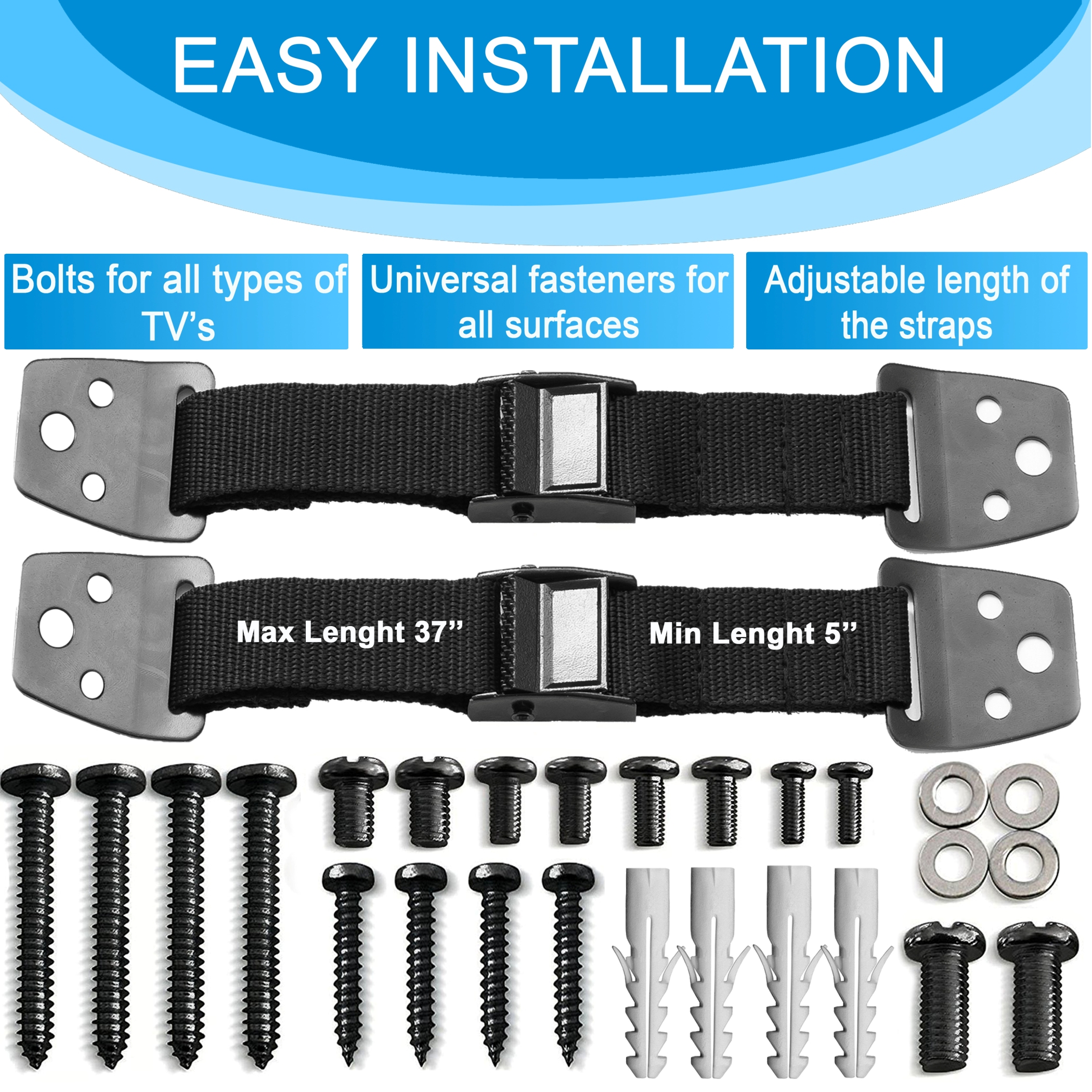 METAL Anti Tip Furniture Kit - TV Straps Safety (4 PACK+ 1 LOCK) Earthquake Straps - Furniture Anchors For Baby Proofing - Wall Straps For Flat Screen -