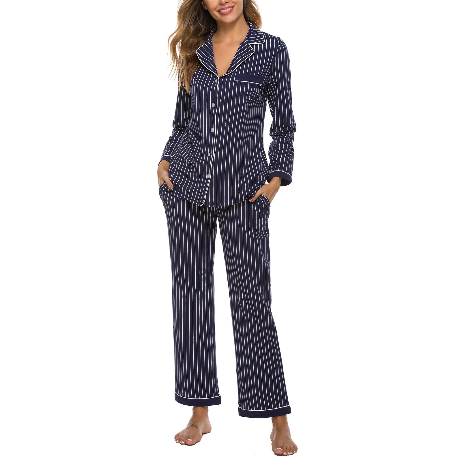 Women Pajamas Set 2 Piece Long Sleeve Sleepwear Button Down Nightwear Soft Pjs