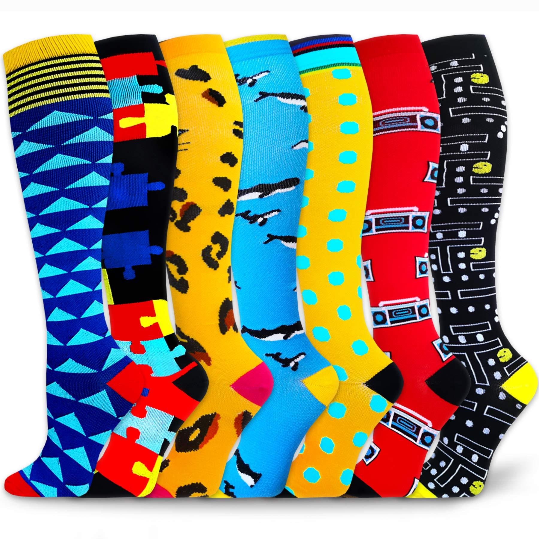 7 Pack Compression Socks Women & Men 20-30 mmHg , Best Athletic & Medical Running Flight Travel Pregnant