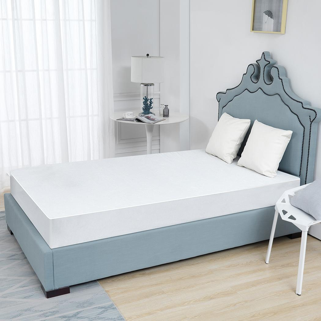 Nesaila Plush 100% Waterproof Mattress Protector -100% Organic Cotton,Luxuriously Soft and Comfortable,Breathable Noiseless,Hypoallergenic,Machine Washable,Stretchy Deep Pockets,Vinyl Free