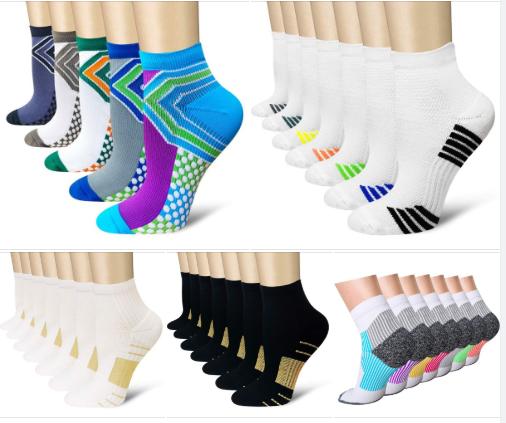 Compression Socks Plantar Fasciitis Sock for Women & Men, Arch Support Ankle Low Cut Running Sports Flight Travel Nurses