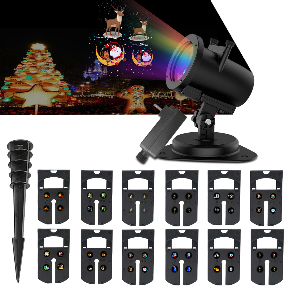LED Projector Light -Snowflake Christmas Lighting Outdoor Indoor 12 Pattern LED Lightshow Projection for Multi Celebration Conditions Holiday Seasonal House Decorations