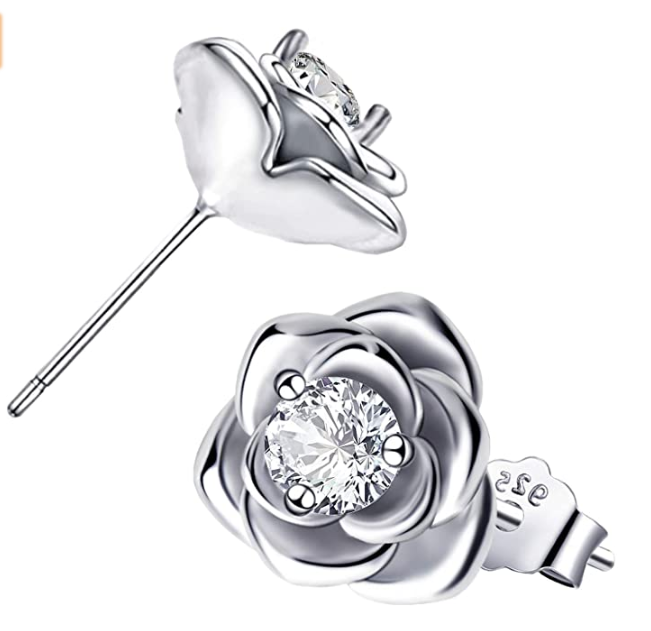 Sterling Silver Hypoallergenic CZ Rose Earrings Crystal bloom Earrings Piercing Jewelry Gifts for Women Girls Cubic Zirconia Flower Stud Earrings