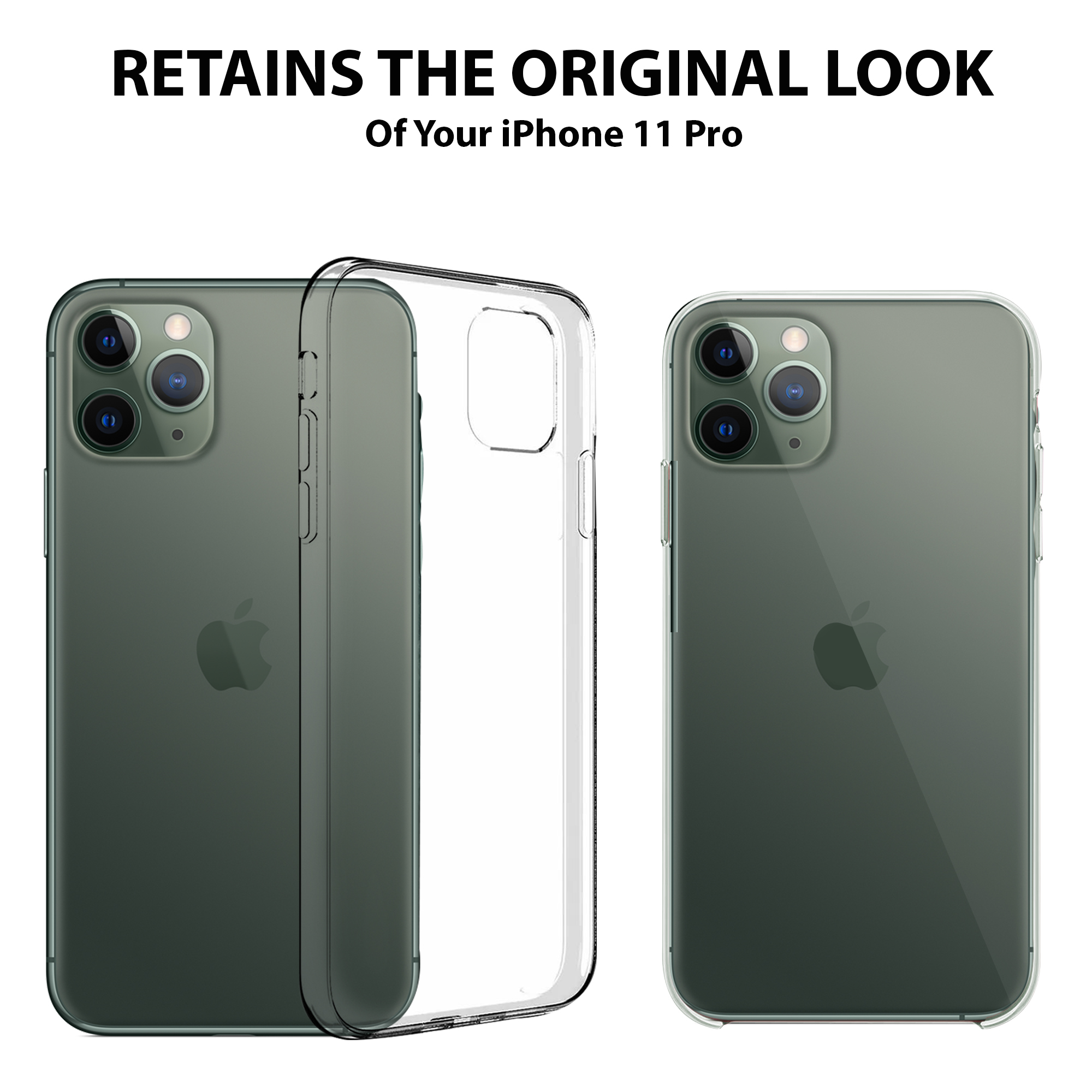 Clear Case + 2 Screens iPhone11 Pro ProMax iPhone 11 Complete Protection Bundle - Zorquax Hybrid (Hard PC Back, Soft TPU Sides) Shockproof & Case-on Charging Case with Two (2X) 9H Tempered Glass Screen Protectors