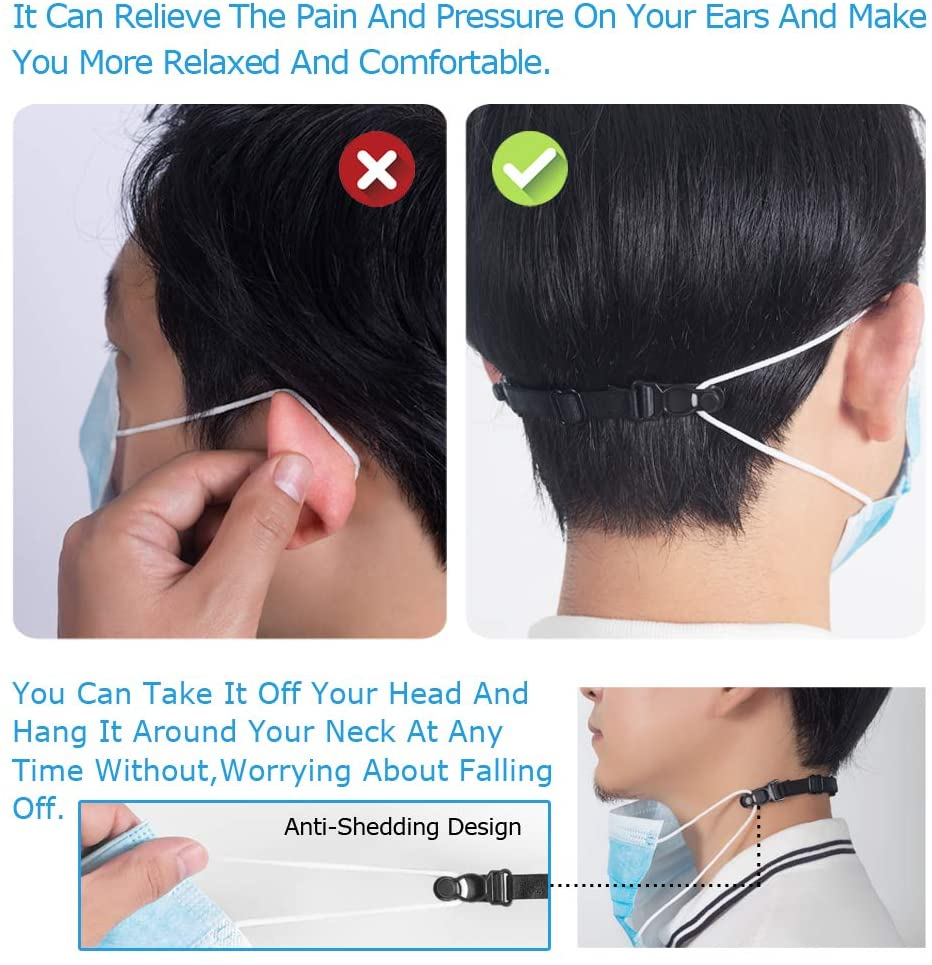 Mask Extender, Face Mask Extender Strap Ear Loops Relieving Ear Pressure & Pain from Wearing Long-Time Mask for Nurses,Food-Workers,Mask Strap Extender with High Elastic Fabric, 5 pcs Black