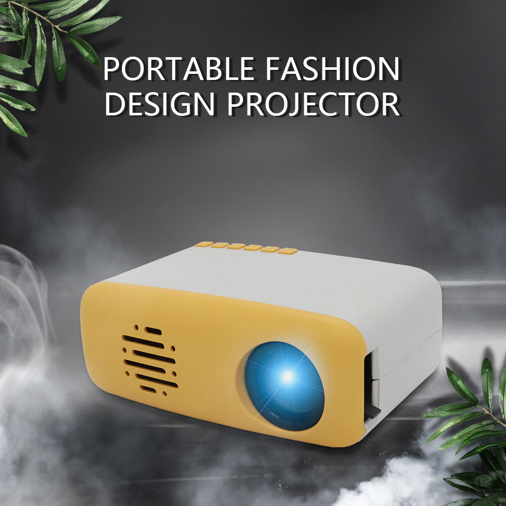 Mini Video Movie Projector,iRULU Portable Home Theater Palm Size Projector with HDMI VGA AV Headphone for Kids Children Education (Yellow, Siz2)