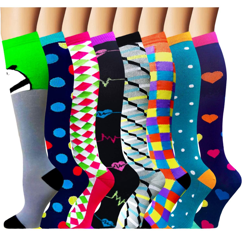 Compression Socks for Women & Men 8 Pairs 20-30 mmHg is Best Graduated Athletic, Running, Flight,Travel,Nurses