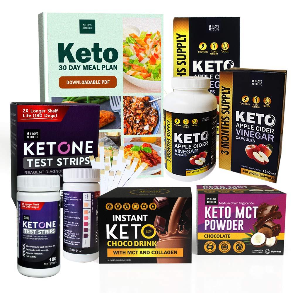 Slimming Ketone Diet Box - Perfect for Everyday Use, Includes Chocolate Drink, Apple Cider Vinegar Capsules, MCT Oil Powder, Ketone Strips and Keto Journal
