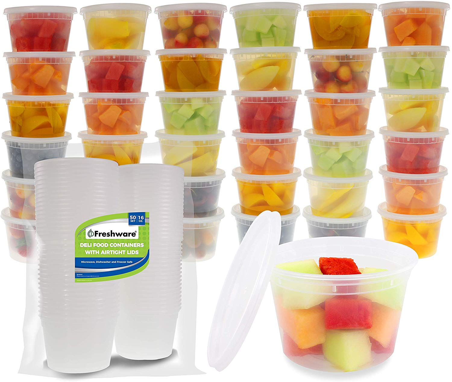 Food Storage Containers [50 Pack] 16 oz Plastic Containers with Lids, Deli, Slime, Soup, Meal Prep Containers | BPA Free | Stackable | Leakproof | Microwave/Dishwasher/Freezer Safe
