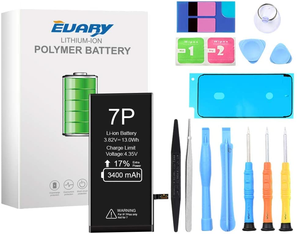 EVARY Battery Compatible with iPhone 7 Plus, 3400mAh Super High Capacity Replacement Battery New 0 Cycle, with Professional Replacement Tool Kit and Instructions -2 Year Warranty