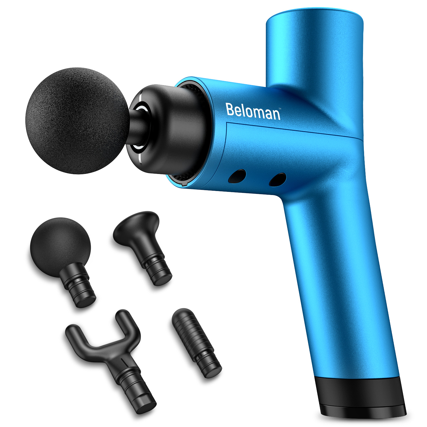 Beloman Pro Massage Gun, 3800RPMS Powerful Percussion Massage gun for Athlete Recovery- Handheld Ultra Quiet 4 Speeds Deep Tissue Muscle Massager, 2600mAh Quick Rechargeable Device with 4 Attachments
