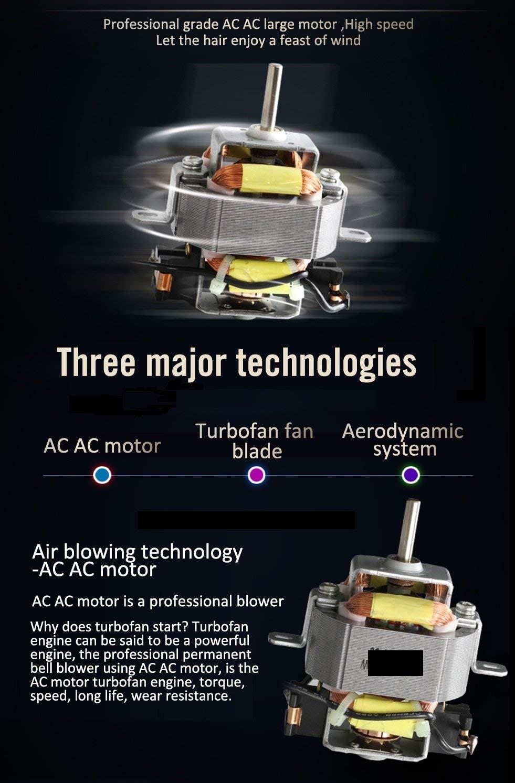 Princely 1875W(2300wattage) Professional Hair Dryer/120KM/H airflow speed/3 Heat 2 Speed Setting/Tourmaline Ionic Ceramic Hair Blow dryer AC Motor Hair Blower
