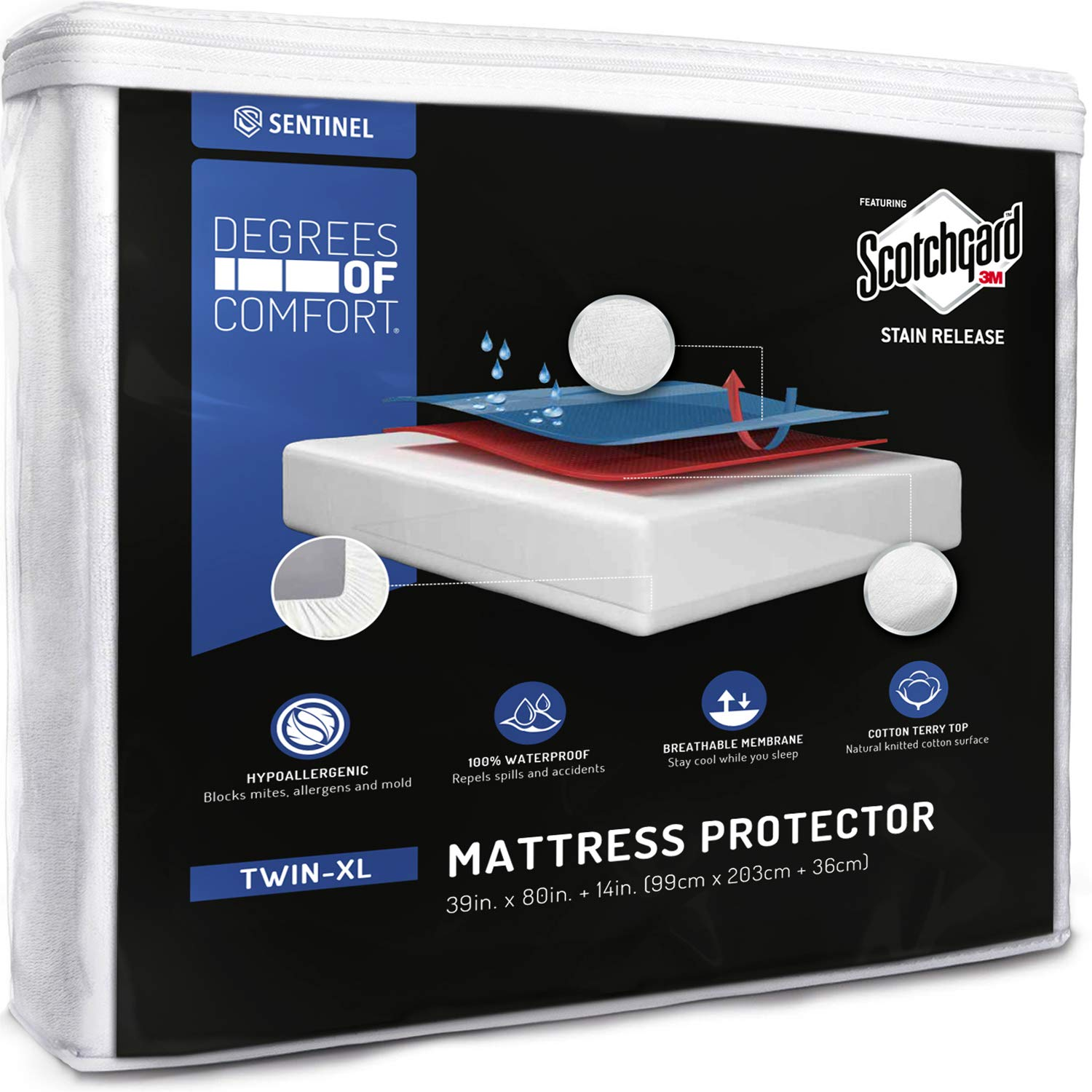 Hypoallergenic Waterproof Twin XL Mattress Protector | Breathable, Fitted Cotton Terry Cover with 3M Scotchgard Stain Release Technology | Urine and Spill Protection