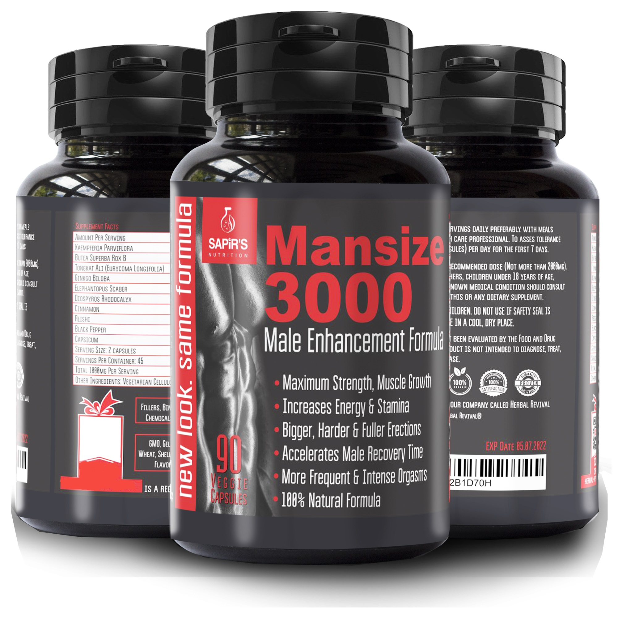 Mansize 3000 Male Enlarger Xl Supplement - Sexual Performance Enhancement Pills Best Male Testosterone Male Penis Enlarger Growth Pills Sex Enhancer Big Dick 90 Vegetable Cellulose Capsules