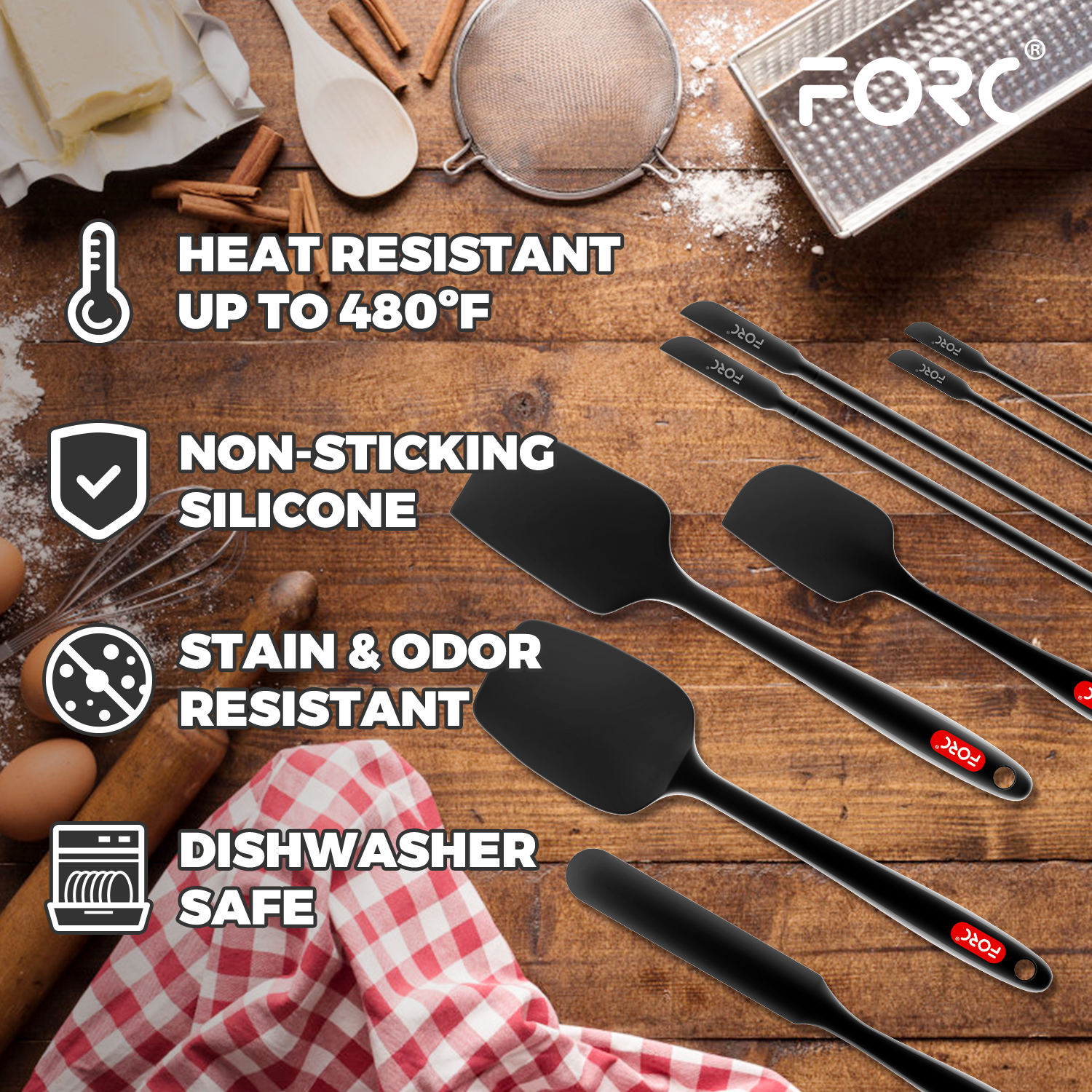 Forc Silicone Spatula Set of 8 include 4 Mini Spatulas, Heat Resistant Rubber Spatula Kitchen Utensils, One Piece Design with Stainless Steel Core, Kitchen Spatulas for Nonstick Cookware, Black