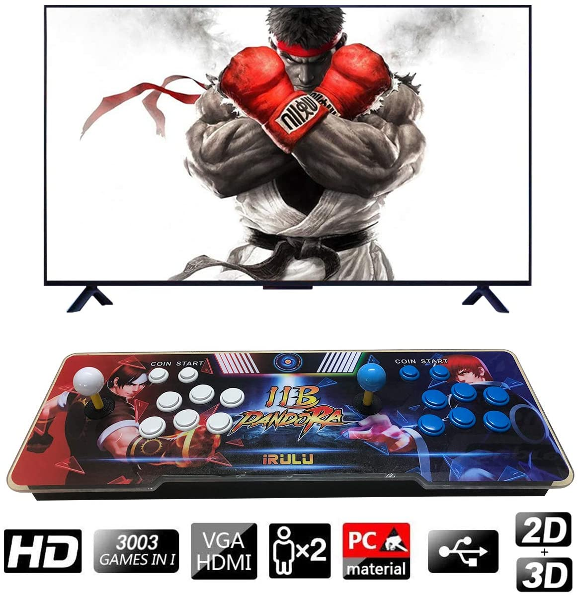 iRULU 3003 Arcade Game Machine,Family Pandora's Box Multiplayer Joystick Buttons Arcade Video Game for Home with 14 3D Classic Video Game, Newest System,Advanced CPU,Compatible HDMI and VGA (Box 11B)