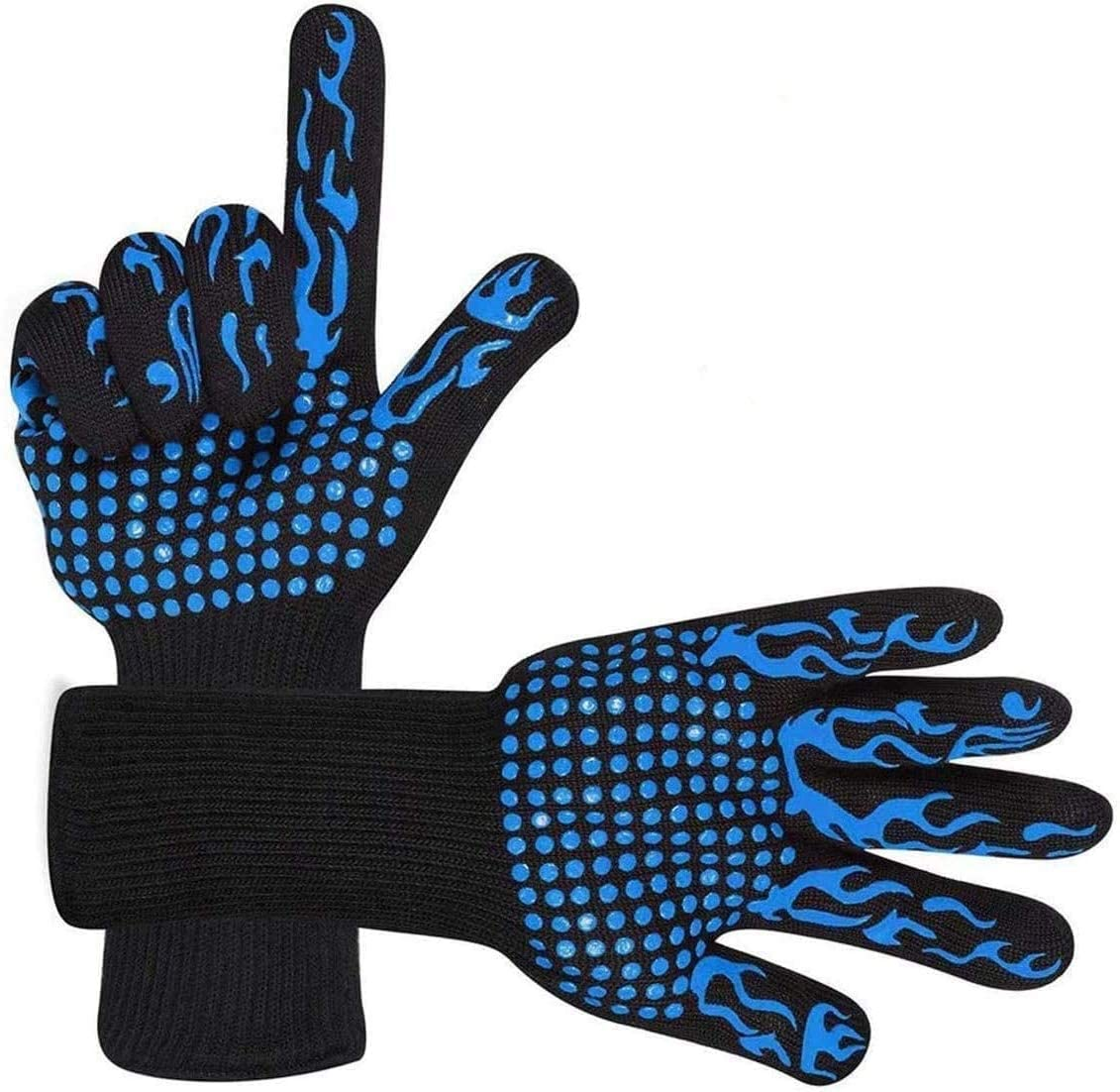 Mamilafe BBQ Grilling Gloves 1472℉ Heat Resistant Non-Slip Extra Long Wrist Oven Gloves for Grilling, Baking, Cooking, Welding, Cutting, Blue