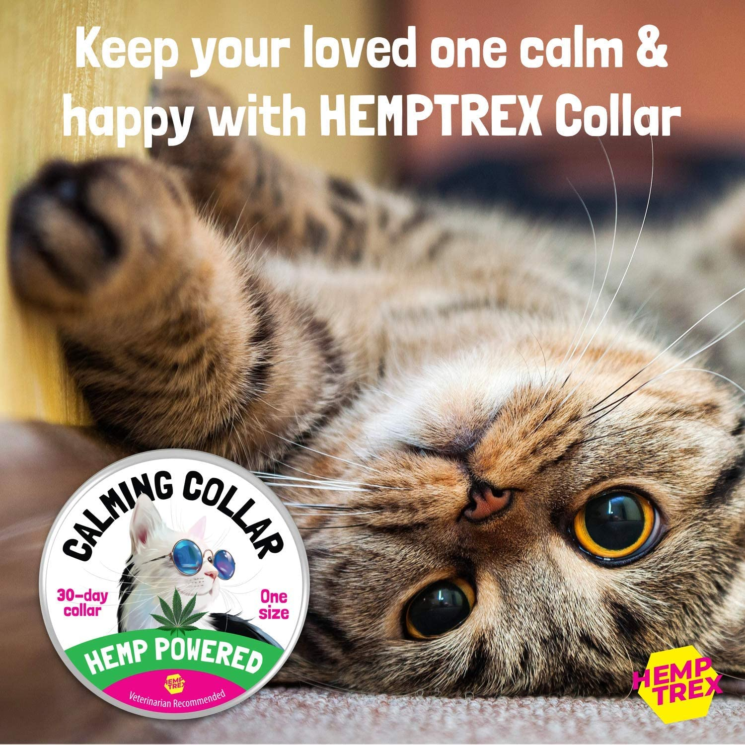 Calming Collar for Cats and Kittens with Hemp- Reduce Cat Anxiety, Stress with Natural Pheromones - Waterproof and Adjustable - Up to 15 Inch Fits - 30-Day Long-Lasting