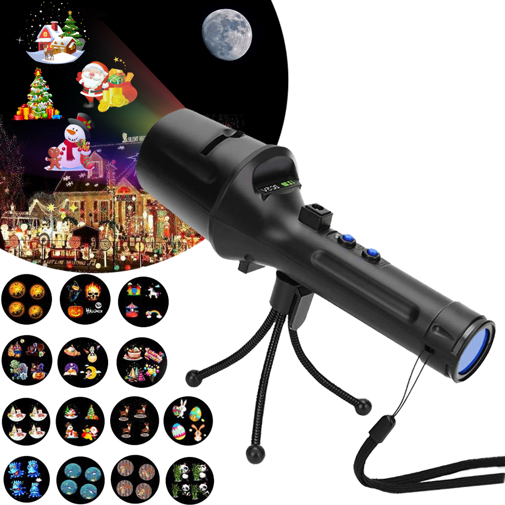 Battery Operated Christmas Projector - 2 in 1 Flashlight Projection Lights 14 Animated Slides for Kids Xmas Gift Holiday Decoration