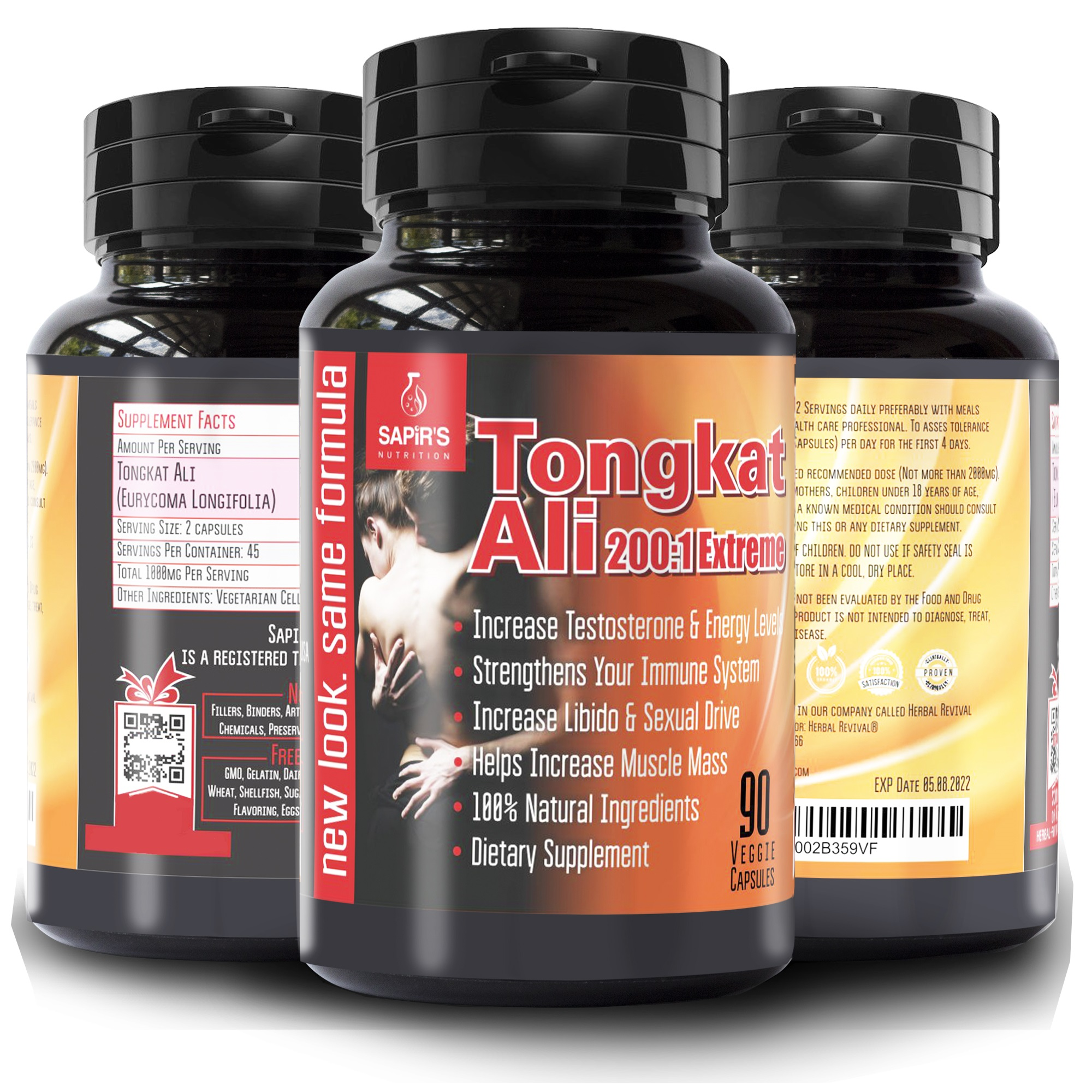 Extreme Tongkat Ali Longjack 200:1 Root Extract - Pure Male Testosterone Booster Supplement - 100% Natural Libido Enhancement Pills - Stamina Hormone Booster Male Enlarging Increase Size 90 Vegetarian Capsules