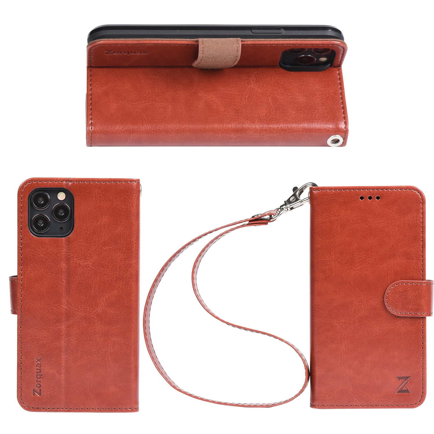 50% Refund iPhone11Pro Leather Wallet Case Detachable Strap WineRed Black Brown HandsFree Stand Case-On Wireless Charging Zorquax Antislip Flip Case 5 Storage Slots Magnetic Clasp RFID Protection