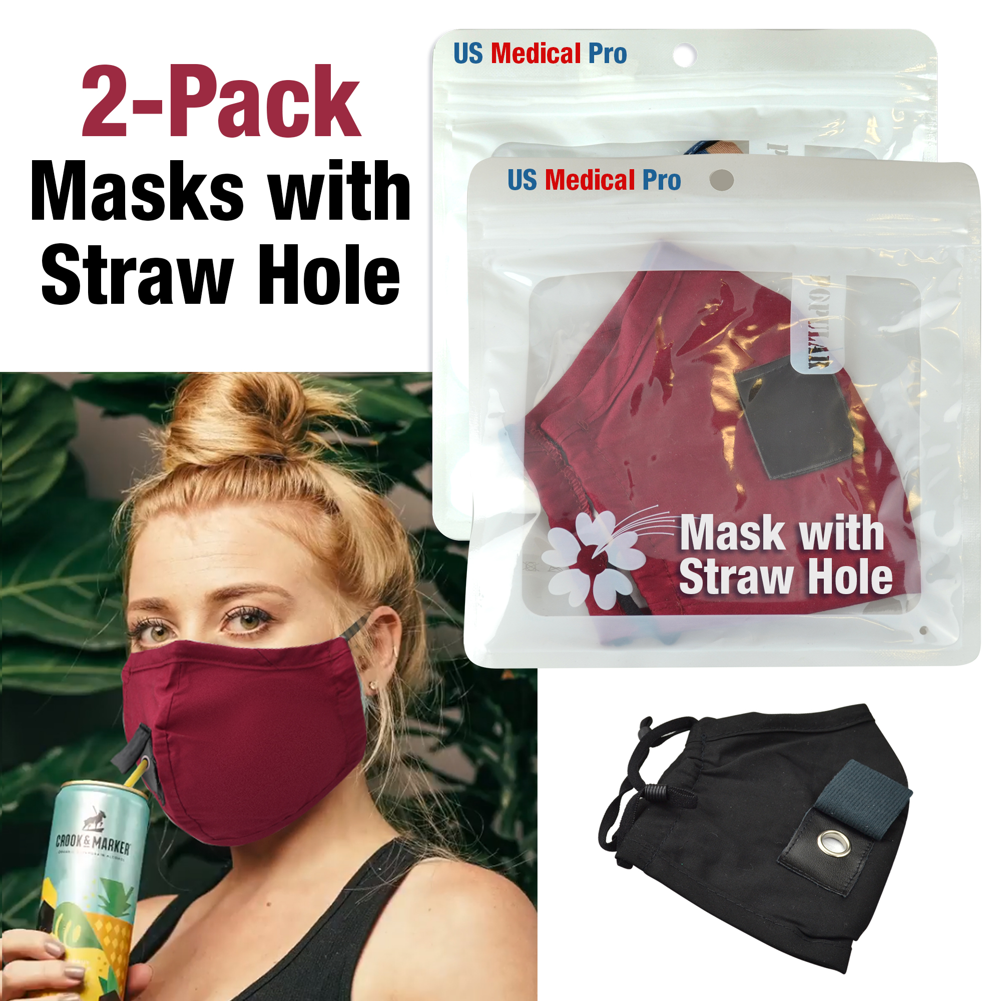 2 Pack Re-Usable Face Masks with Straw Drinking Hotel