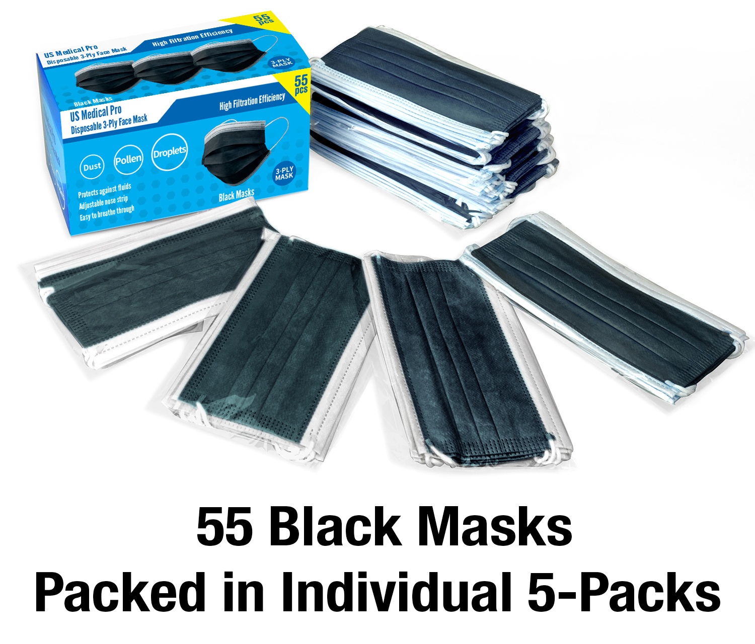 55 BLACK Pack Breathable Face Masks Cover Disposable Face Mask Ply Layer Filter System (55 Black)