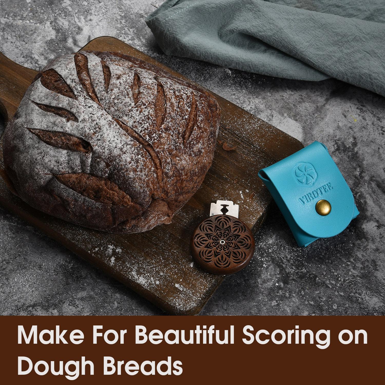 VIROTEE UFO Bread Lame - Dough Scoring Slashing Tools Baking Sourdough Bread Knife Razor Cutter Banneton Making Tools for Bread Bakers - Handmade with Walnut Wood