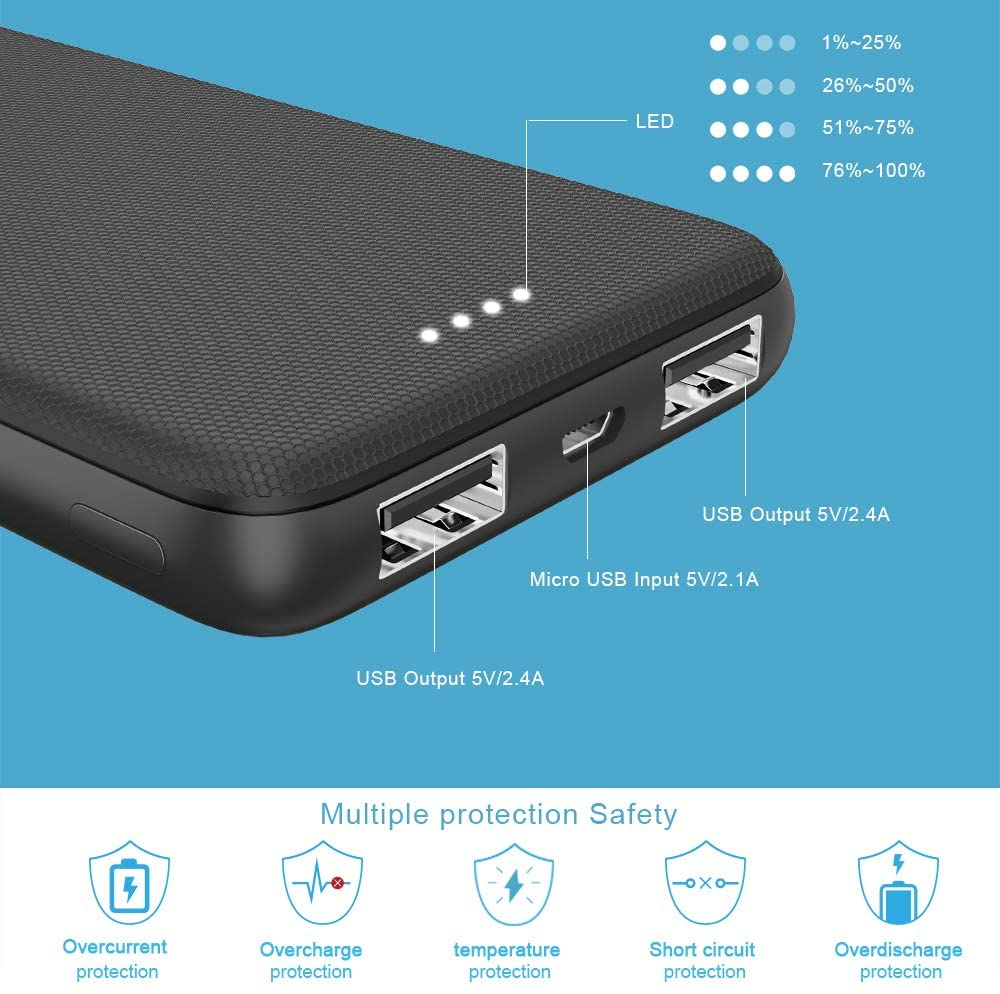 Portable Charger, Vancely 10000mAh Small Power Bank - 4.8A 2 USB Ports High-Speed Battery Pack, Cell Phone Charger Portable Compatible with iPhone Xs X 8 7 6 Samsung Galaxy Note 9 S9 Android Etc