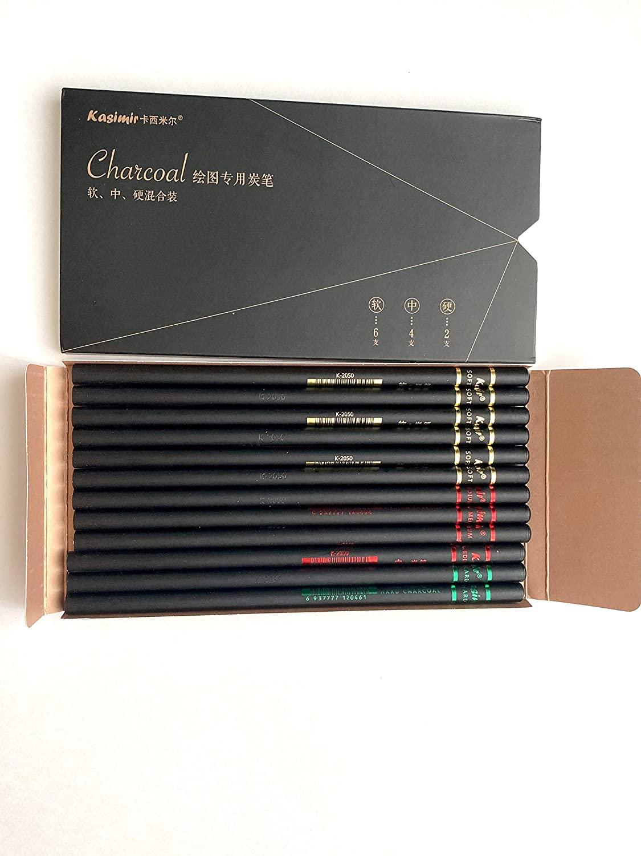 Charcoal Pencils 12pcs/set. 6pcs-Soft 4-Medium 2-Hard Charcoal Sketching Pencils set for drawing
