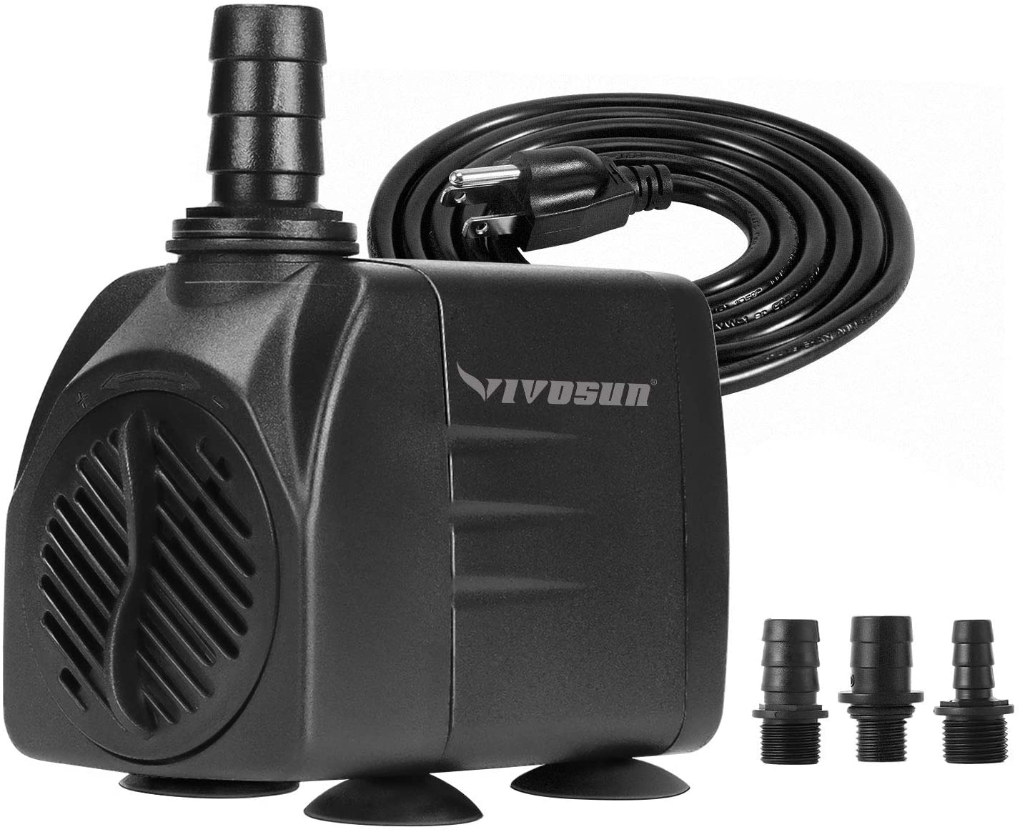 VIVOSUN 480GPH Submersible Pump(1800L/H, 25W), Ultra Quiet Water Pump with 7.2ft High Lift, Fountain Pump with 5ft Power Cord, 3 Nozzles for Fish Tank, Aquarium, Statuary, Hydroponics