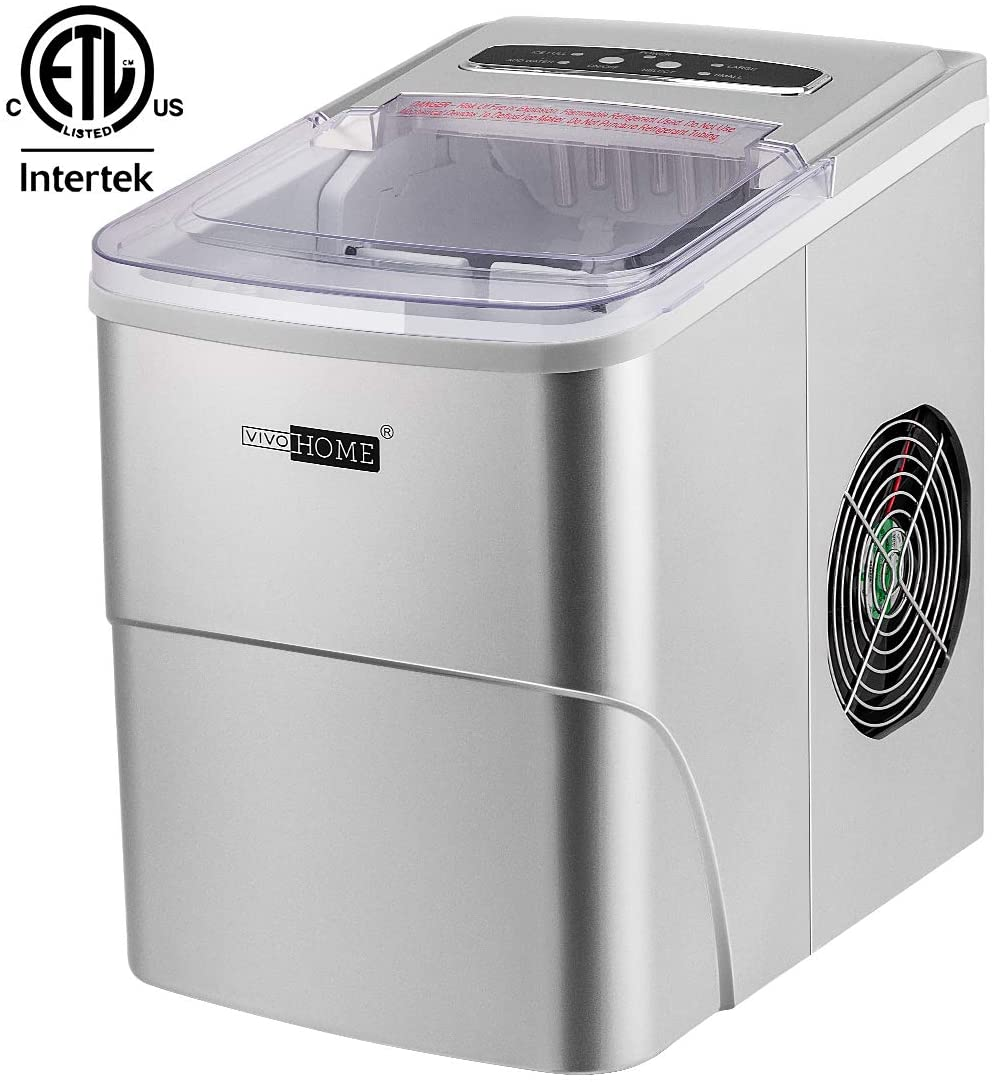 VIVOHOME Countertop Ice Maker Machine with Full Visible Window, 26 lbs Ice in 24 Hrs, Ice Scoop Included, ETL Listed, Silver