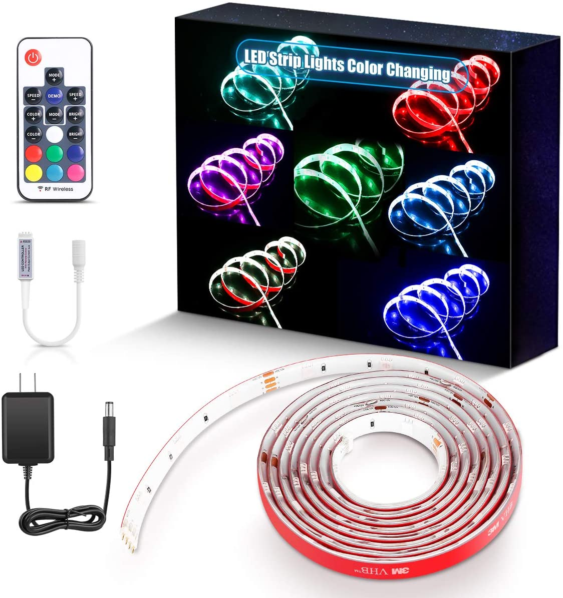 PryEU LED Light Strips 2M SMD 5050 RGB Color Changing RF Remote Control Waterproof Extendable with 12V Power Supply for Kitchen Room Ambient Lighting/Under Bed Cabinets