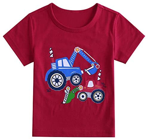 Boys and Girls Round Neck Shirt Tops 2 Pieces 3 Pieces red, White, Yellow, Blue T-Shirts 1T-6T