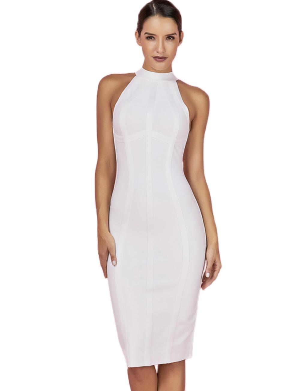 Maketina Women's High Neck Sleeveless Striped Bodycon Midi Cocktail Party Bandage Dress
