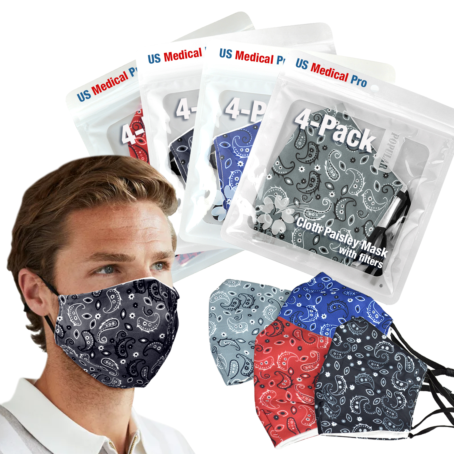 4 Pack Paisley Mask with 20 Filters Free