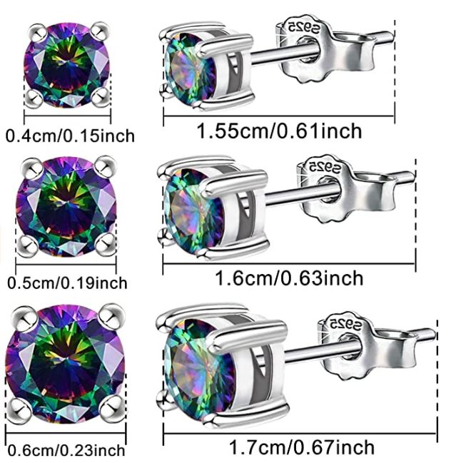 14K White Gold Plated Sterling Silver Hypoallergenic Round Crystal Earrings Set Piercing Jewelry Gift for Women Men Girls 4MM/5MM/6MM - Colorful Crystal Stud Earrings Set