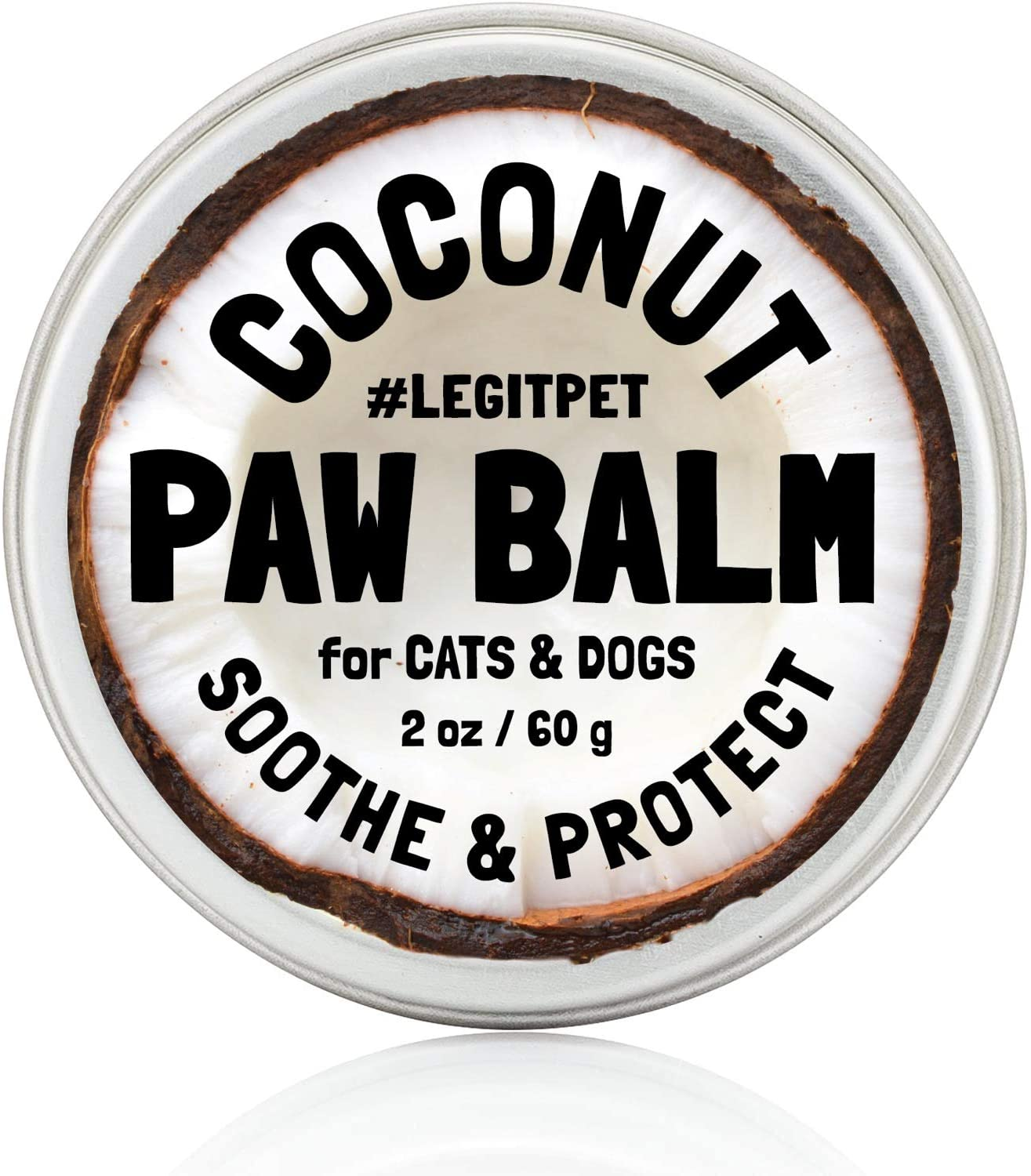 Dog Paw Balm Wax Soother & Moisturizer Cream with Natural Food-Grade Coconut Oil, Organic Shea Butter & Beeswax - 2 oz - Healing Protector for Cracked Dog Paws, Snout & Elbows