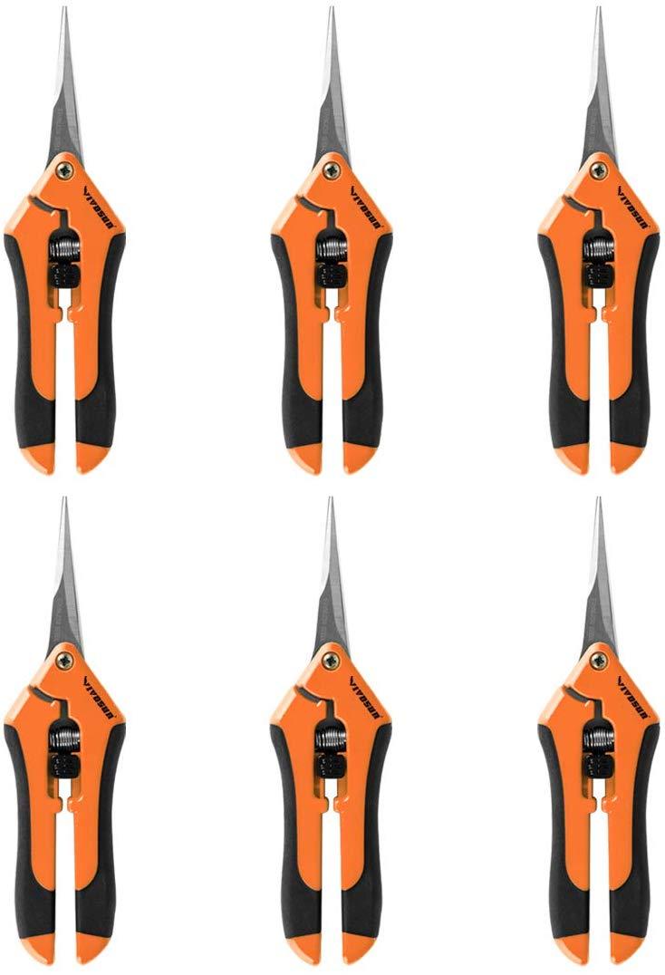 VIVOSUN 6-Pack 6.5 Inch Gardening Hand Pruner Pruning Shear with Straight Stainless Steel Blades Orange
