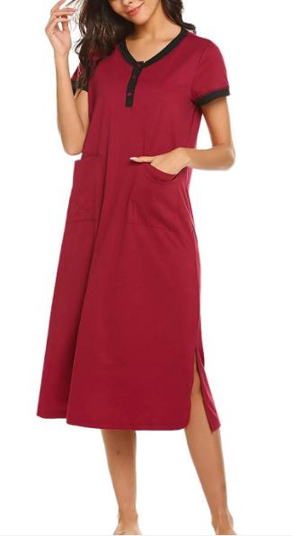 Nightgowns Women Button Front Sleepshirt Short Sleeve Loungewear Ultar-Soft Sleepwear Long Nightshirt with Pockets