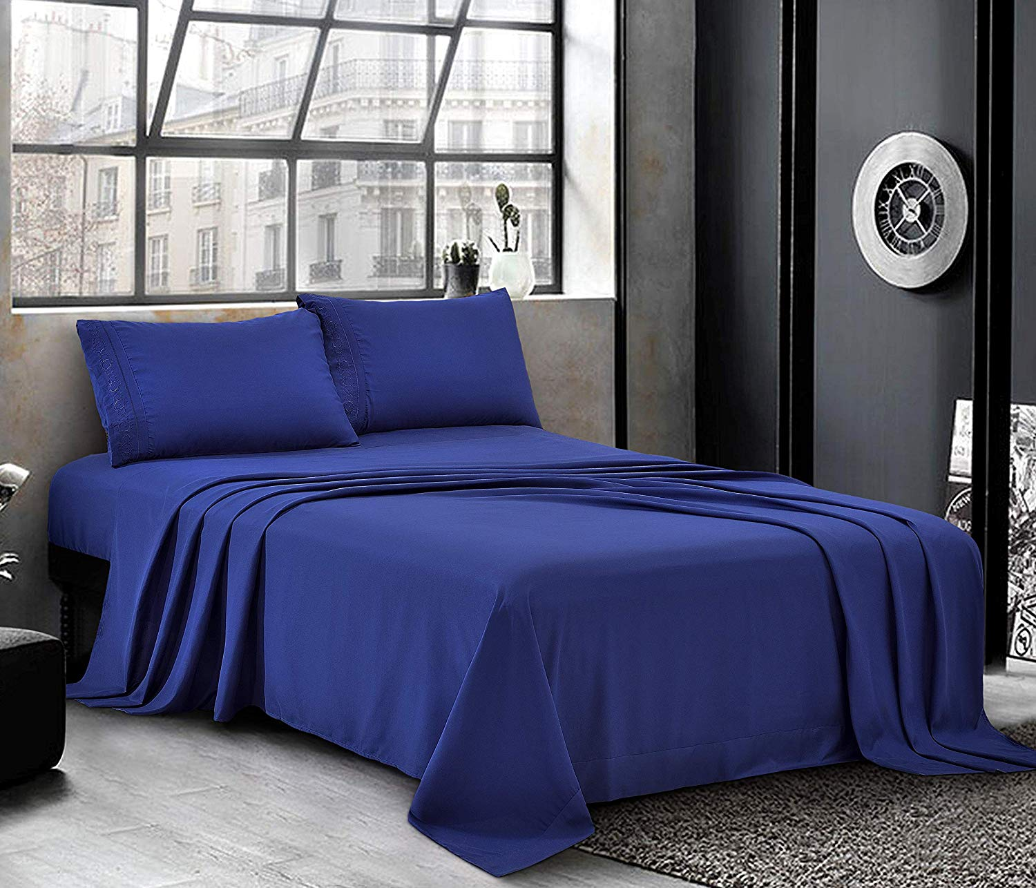 Hotel Luxury Bed Sheets - Cal King Sheet Set [4-Piece, Navy Blue] - Sateen Weave, Premium Microfiber - Soft and Breathable - Deep Pocket Fitted Sheet, Flat Sheet, Pillow Cases