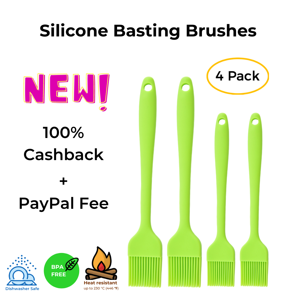 Silicone Basting Brush Set of Four Heat Resistant Long Handle Pastry Brush for Grilling, Baking, BBQ and Cooking, Solid Core and Hygienic Solid Coating 4 Pack -Green