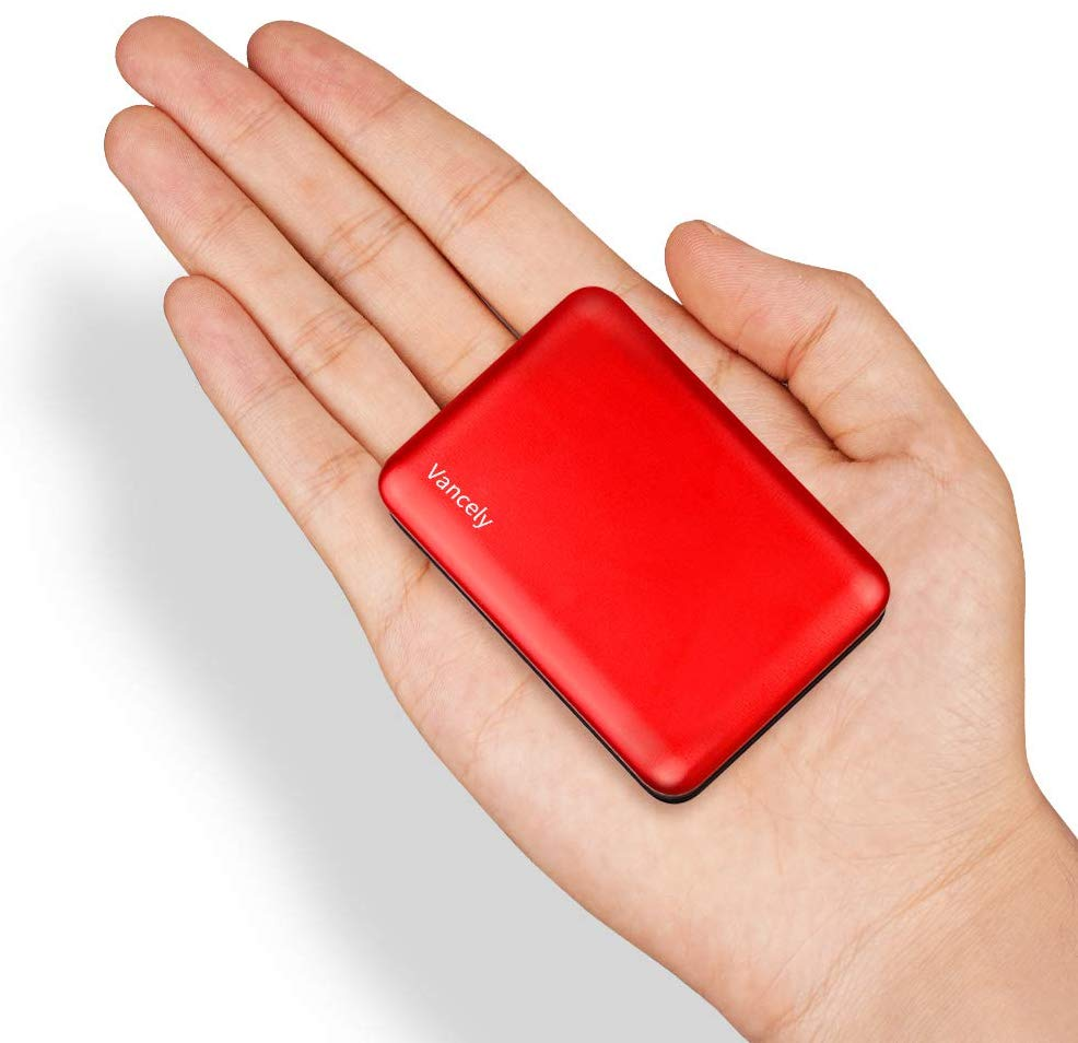 Portable Charger, Vancely 10000mAh Small Powerbank, High Capacity 4.8A Dual USB Battery Pack, Fast Charging External Battery with LED Indicator Power Bank Compatible for iPhone, Samsung, Huawei (Red)