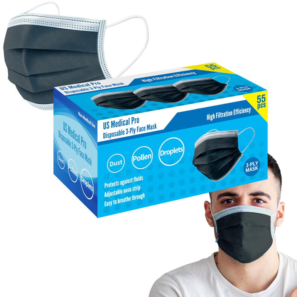 55 Pack Re-Usable Black Masks