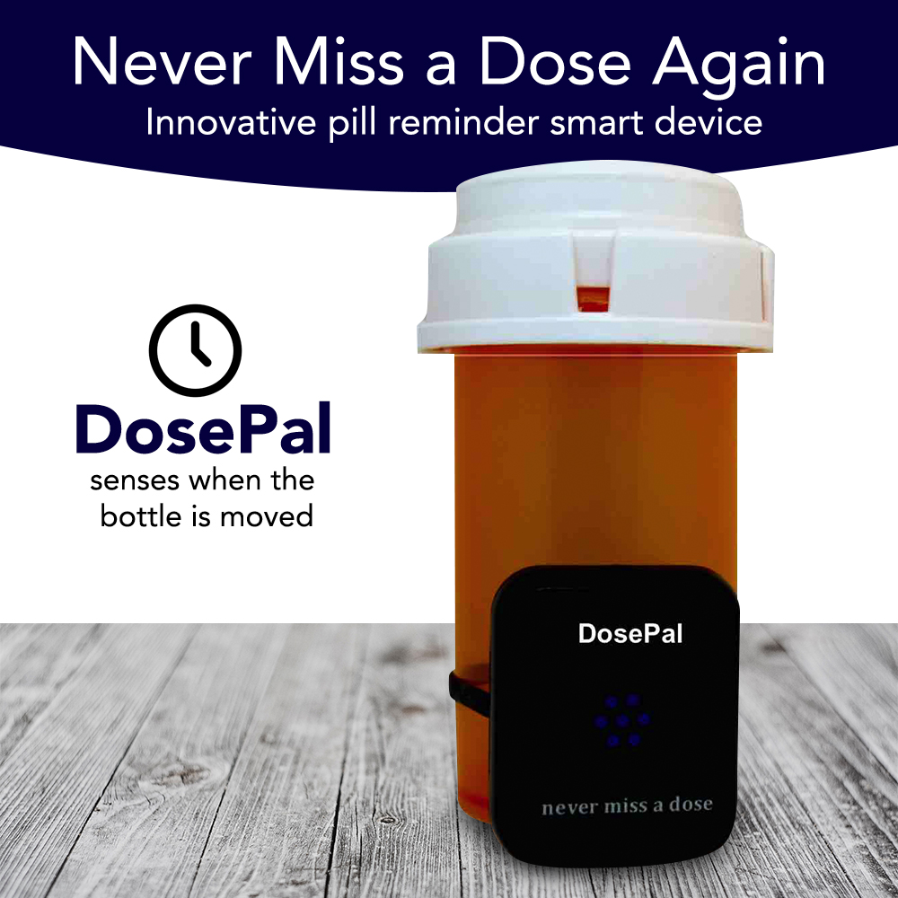 Smart Pill Reminder Device – Bluetooth LED & Audio Pill Alarm System that Attaches to Bottle - Reminds you to Take Medicine & Vitamins On time, Every time!