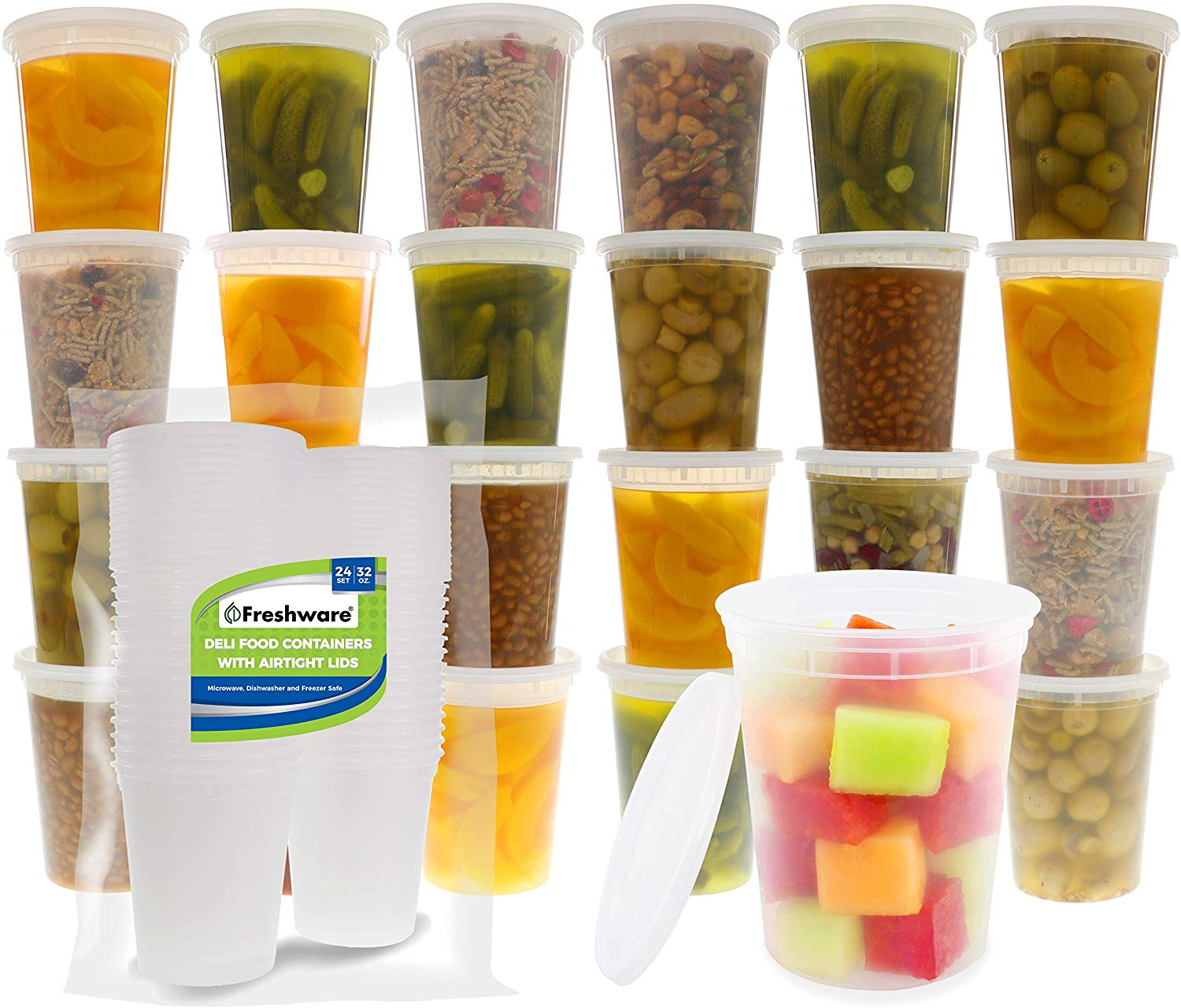 Food Storage Containers [24 Pack] 32 oz Plastic Containers with Lids, Deli, Slime, Soup, Meal Prep Containers | BPA Free | Stackable | Leakproof | Microwave/Dishwasher/Freezer Safe